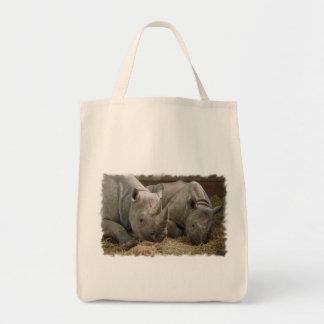 Sleeping Rhinos Grocery Tote Bag