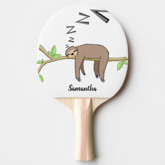 Sleeping sloth ping pong paddle