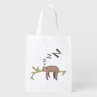 Sleeping sloth reusable grocery bag