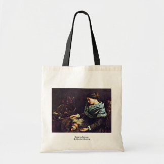 Sleeping Spinner By Courbet Gustave Canvas Bags