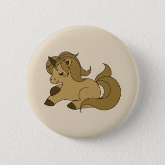 Sleeping tan unicorn 6 cm round badge