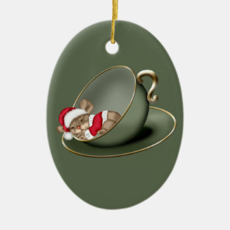 Sleeping Tea Cup Mouse 2 Sided Ceramic Ornament