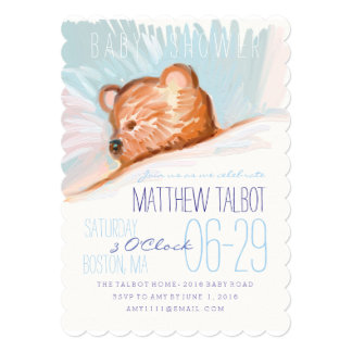 Sleeping Teddy Bear Baby Shower Invitation