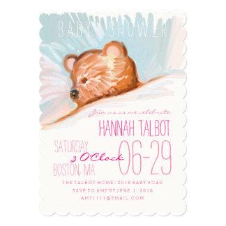 Sleeping Teddy Bear Baby Shower Invitation 2