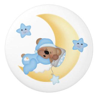 Sleeping Teddy Bear Moon Stars Boy Nursery Ceramic Knob
