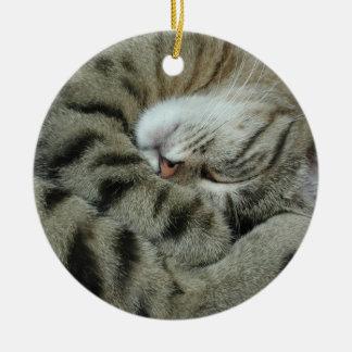 Sleeping Tiger-Cat Ceramic Ornament