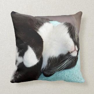 sleeping tuxedo cat chin view kitty image throw cushion