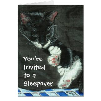 Sleeping Tuxedo Cat Sleepover Party Invitation