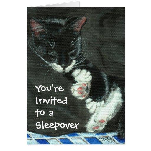 Sleeping Tuxedo Cat Sleepover Party Invitation Greeting Cards