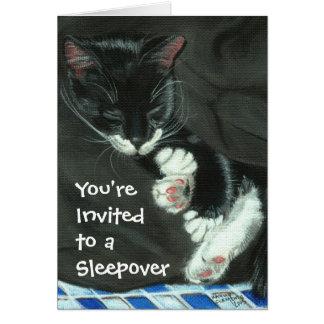 Sleeping Tuxedo Cat Sleepover Party Invitation Note Card