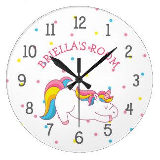 Sleeping unicorn bedroom clock with name