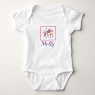 Sleeping Unicorn NAME Kawaii Onsie Sleeper Baby Bodysuit a04c0824b
