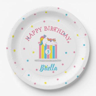 Sleeping Unicorn on birthday cake party decor Paper Plate