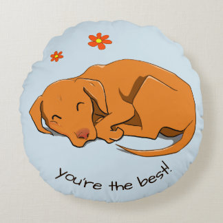 Sleeping Vizsla Custom Text Round Pillow