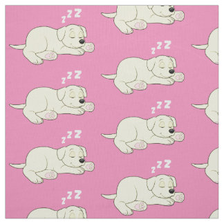 Sleeping Yellow Labrador Retriever Puppy Fabric