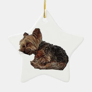 Sleeping Yorkie Ceramic Ornament