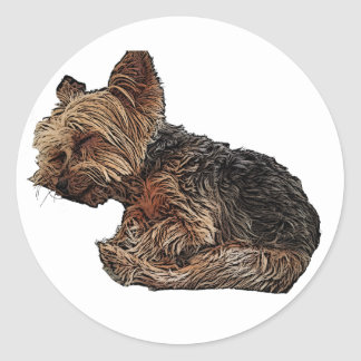 Sleeping Yorkie Classic Round Sticker