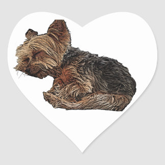 Sleeping Yorkie Heart Sticker