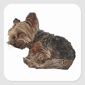 Sleeping Yorkie Square Sticker