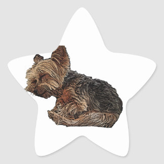 Sleeping Yorkie Star Sticker