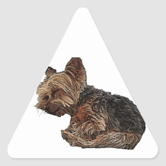 Sleeping Yorkie Triangle Sticker