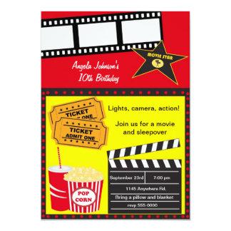 Sleepover and Movie Night Birthday 13 Cm X 18 Cm Invitation Card