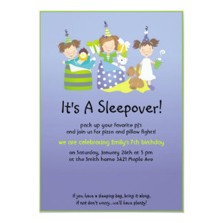 Sleepover and pillow fights 13 cm x 18 cm invitation card
