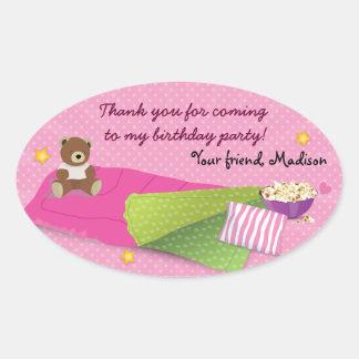 Sleepover Birthday Party Oval Sticker