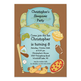 Sleepover Boys Birthday Invitation