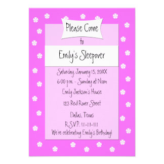 Sleepover Party Invitation -- Cute Pink Bed Invitations