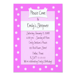 Sleepover Party Invitation Cute Pink Bed