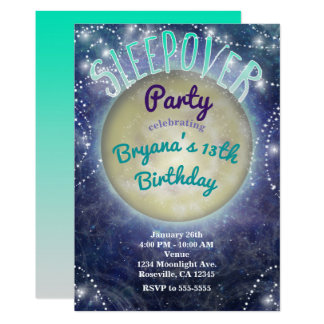 Sleepover Party Moon in the Night Sky Invitations