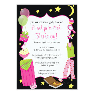 Sleepover! Slumber Party Themed Invitations