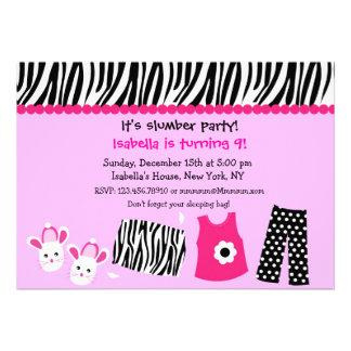 Sleepover Zebra Print Birthday Party Invitations