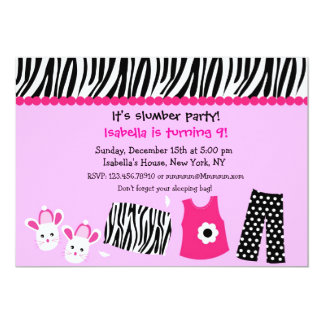 Sleepover Zebra Print Birthday Party Invitations