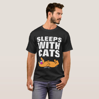 SLEEPS WITH CATS, Funny Cat T-shirts