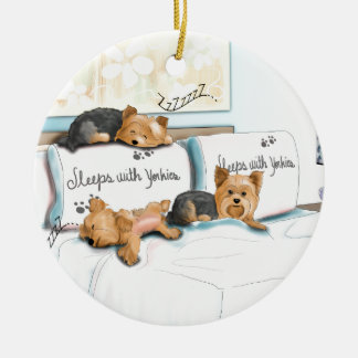 Sleeps with Yorkies by Catia Cho Ceramic Ornament