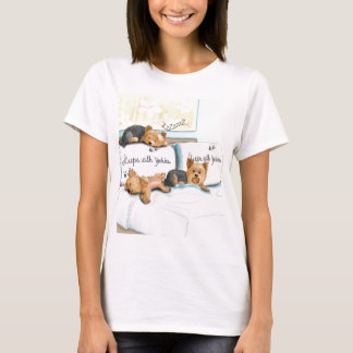 Sleeps with Yorkies by Catia Cho T-Shirt