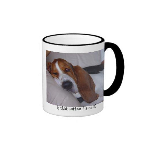 Sleepy Basset Hound Coffee Mugs