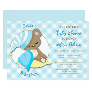 Sleepy Bear Baby Boy Shower Invitation