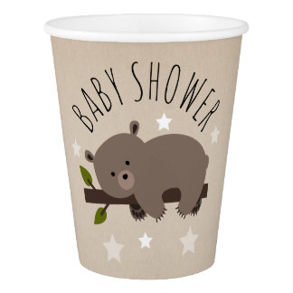 Sleepy Bear Stars Baby Shower Paper Cup
