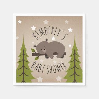 Sleepy Bear Stars + Trees Baby Shower Paper Napkin