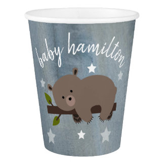 Sleepy Bear Stars Watercolor Baby Shower Paper Cup