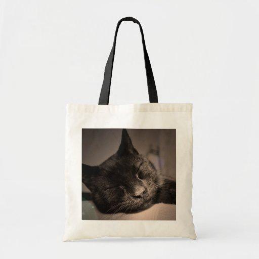 Sleepy Black Cat Photo Bag