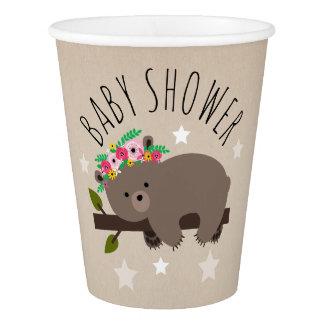 Sleepy Boho Bear Stars Baby Shower Paper Cup