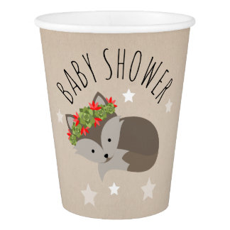 Sleepy Boho Fox Desert Stars Baby Shower Paper Cup