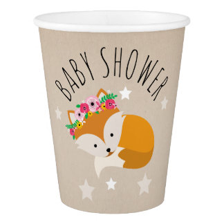 Sleepy Boho Fox Stars Baby Shower Paper Cup