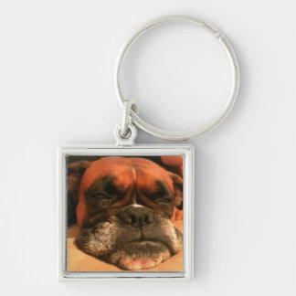 Sleepy Boxer Silver-Colored Square Key Ring