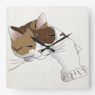 sleepy calico cat square wall clock