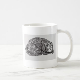sleepy cat basic white mug